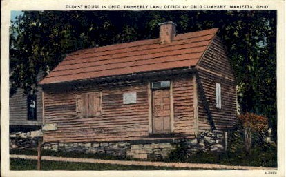 Oldest House in Ohio - Marietta Postcard
