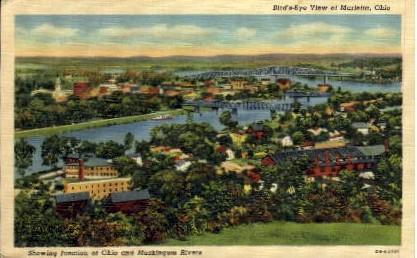 Junction of Ohio and Muskingum Rivers - Marietta Postcard