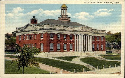 U. S. Post Office - Marietta, Ohio OH Postcard