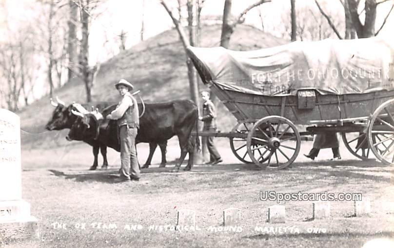 Ox Team and Historical Mound - Marietta, Ohio OH Postcard