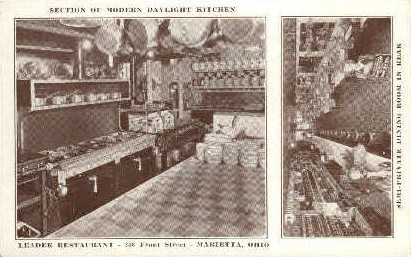 Kitchen, Leader Restaurant - Marietta, Ohio OH Postcard