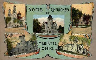 Some Churches of  - Marietta, Ohio OH Postcard