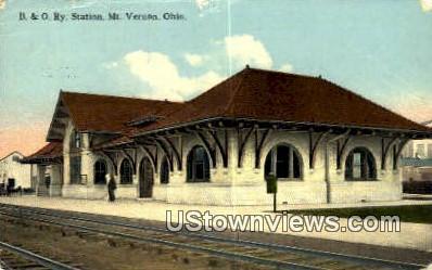 B & O Ry Station - Mt. Vernon, Ohio OH Postcard