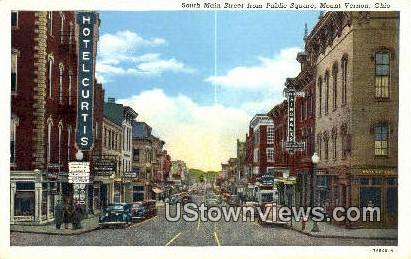 South Main Street, Public Square - Mt. Vernon, Ohio OH Postcard