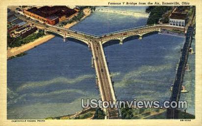 Famous Y Bridge - Zanesville, Ohio OH Postcard