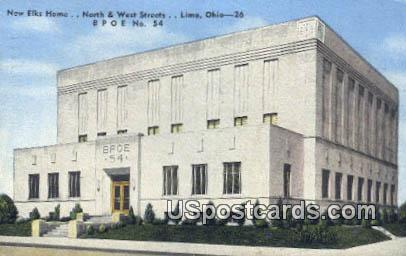 New Elks Home - Lima, Ohio OH Postcard