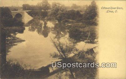 Ottawa River Dam - Lima, Ohio OH Postcard