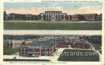 State Hospital - Lima, Ohio OH Postcard