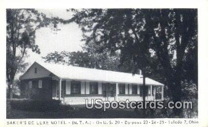 Baker's De Luxe Motel - Toledo, Ohio OH Postcard