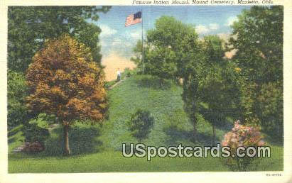 Famous Indian Mound, Mound Cemetery - Marietta, Ohio OH Postcard