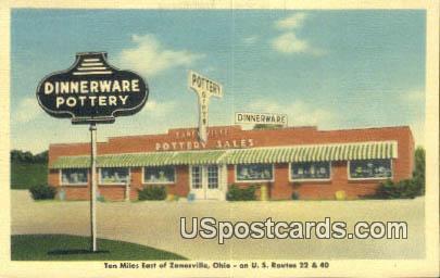 Dinnerware Pottery - Zanesville, Ohio OH Postcard