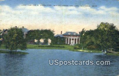 Lake & Girls Dormitory, Mount Union College - Alliance, Ohio OH Postcard