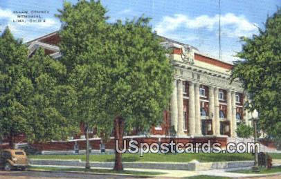 Allen County Memorial - Lima, Ohio OH Postcard