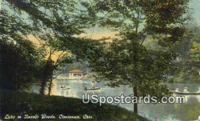 Lake in Burnet Woods - Cincinnati, Ohio OH Postcard