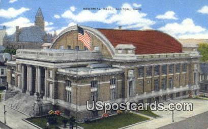 Memorial Hall - Dayton, Ohio OH Postcard
