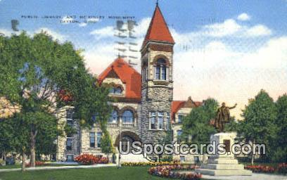 Public Library, McKinley Monument - Dayton, Ohio OH Postcard