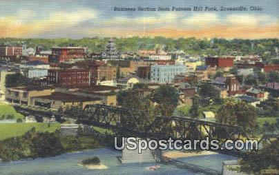 Business Section, Putnam Hill park - Zanesville, Ohio OH Postcard