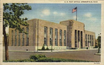 U.S. Post Office - Springfield, Ohio OH Postcard