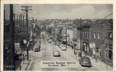 Downtown Business District - Struthers, Ohio OH Postcard