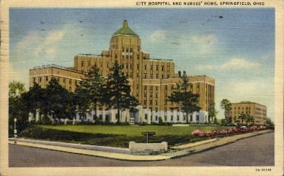 City Hospital and Nurses' Home - Springfield, Ohio OH Postcard