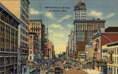 Main Business Section - Dayton, Ohio OH Postcard