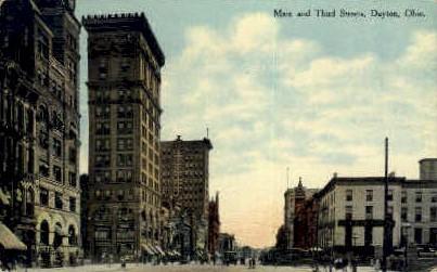 Main & Third Street - Dayton, Ohio OH Postcard