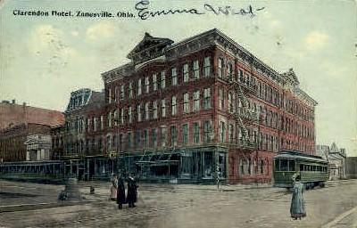 Clarendon Hotel - Zanesville, Ohio OH Postcard