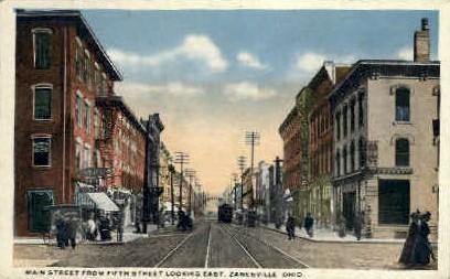 Main St. - Zanesville, Ohio OH Postcard