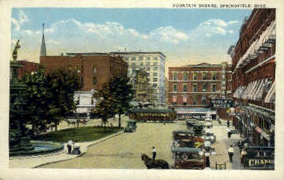Fountain Square - Springfield, Ohio OH Postcard