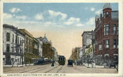 Main Street - Lima, Ohio OH Postcard