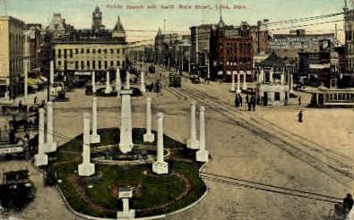 Public Square - Lima, Ohio OH Postcard