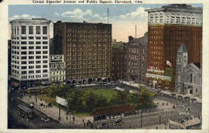 Corner Superior Ave & Public Square - Cleveland, Ohio OH Postcard