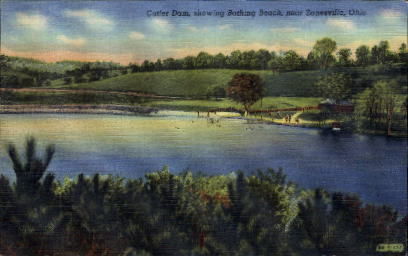 Bathing Beach - Zanesville, Ohio OH Postcard