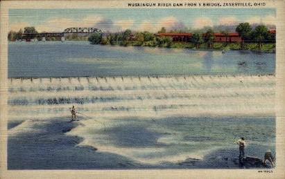 Muskinggum River Dam - Zanesville, Ohio OH Postcard