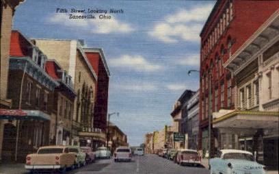 Fifth Street - Zanesville, Ohio OH Postcard