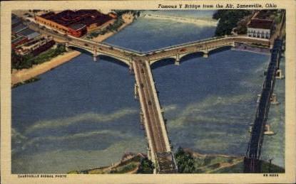 Y Bridge - Zanesville, Ohio OH Postcard