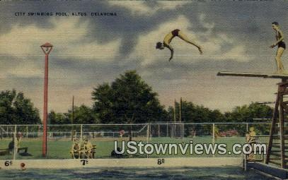 City Swimming Pool - Altus, Oklahoma OK Postcard