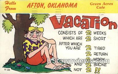 Green Acres Caf» - Afton, Oklahoma OK Postcard