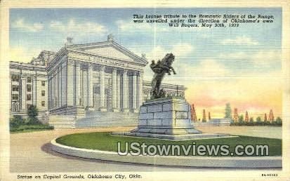 Statue, Capitol, Romantic Riders - Oklahoma City Postcards, Oklahoma OK Postcard