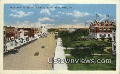 West Side of Square - Enid, Oklahoma OK Postcard