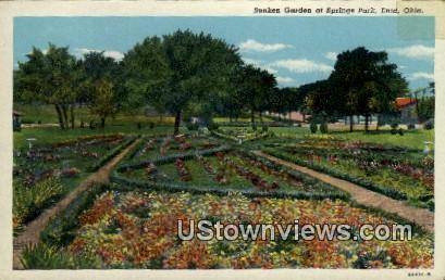 Sunken Garden at Springs Park - Enid, Oklahoma OK Postcard