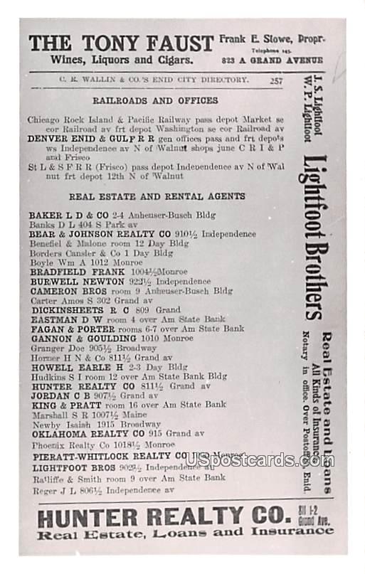 The Tony Faust, Directory - Enid, Oklahoma OK Postcard