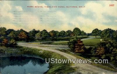 Park Scene, Highland Park - Guthrie, Oklahoma OK Postcard