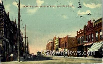 Harrison Ave. - Guthrie, Oklahoma OK Postcard