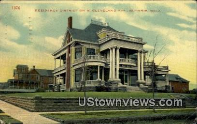 Residence District on W. Cleveland Ave. - Guthrie, Oklahoma OK Postcard