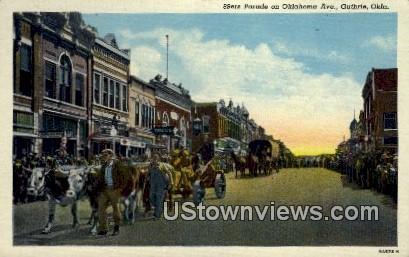 Parade on Oklahoma Ave. - Guthrie Postcard