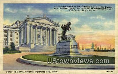 Statue On Capitol Grounds - Oklahoma City Postcards, Oklahoma OK Postcard