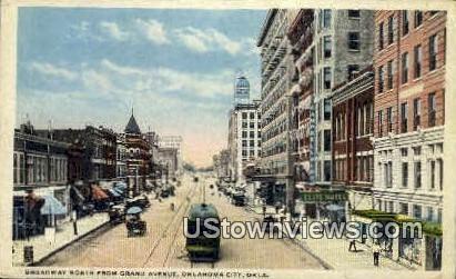 Broadway From Grand Avenue - Oklahoma City Postcards, Oklahoma OK Postcard