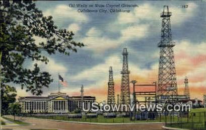 Oil wells On State Capitol Grounds - Oklahoma City Postcards, Oklahoma OK Postcard