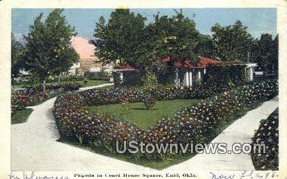 Pagoda, Court House Square - Enid, Oklahoma OK Postcard